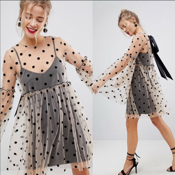 03d8098d209f ASOS Dresses & Skirts - ASOS Sheer Smock Mini Dress in Spot polka dot Mesh